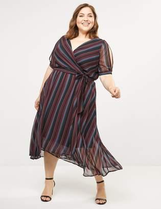 Lane Bryant Striped Faux-Wrap Fit & Flare Midi Dress