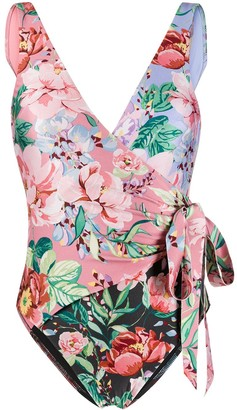 Zimmermann Floral-Print Wrap Swimsuit
