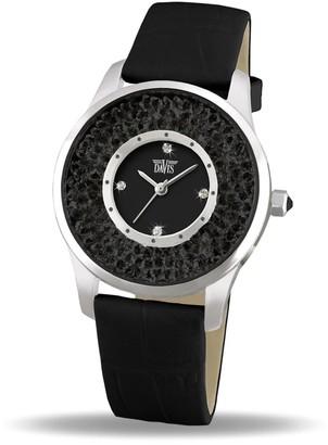 Davis 1783B - Womens Crystal Watch Black Swarovski Rhinestone Strass Black Dial Black Leather Strap