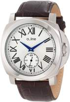 A Line a_line Women's 80007-02-BR Pyar Silver Textured Dial Brown Leather Watch