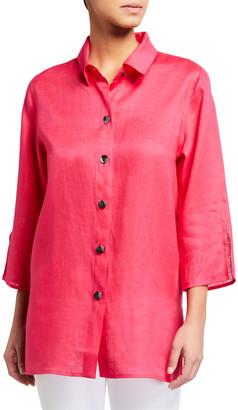 Caroline Rose Petite Breezy Tissue Linen 3/4-Sleeve Shirt