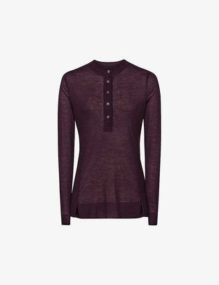 Reiss Hallie buttoned lyocell top