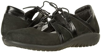 Naot Footwear Timu (Black Velvet Nubuck/Black Madras Leather) Women's Shoes