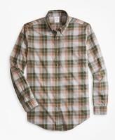 Brooks Brothers Regent Fit Olive Plaid Flannel Sport Shirt