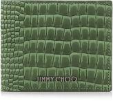 Jimmy Choo MARK Light Olive Crocodile Printed Nubuck Wallet