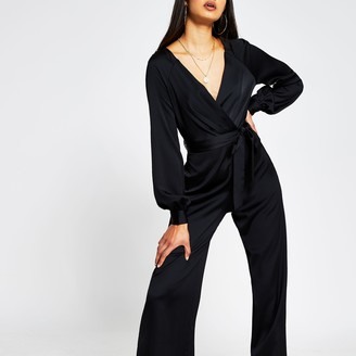 River Island Womens Black long sleeve satin wrap jumpsuit