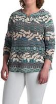 Caribbean Joe Sweetheart Leaf Geo Shirt - Stretch Cotton, 3/4 Sleeve (For Plus Women)