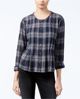William Rast Fairah Pleated Plaid Blouse