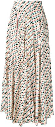 Eva Boquinhas striped midi skirt