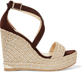 Jimmy Choo Portia Suede Wedge Sandals - Brown