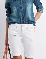 Charlotte Russe Dollhouse Distressed Denim Bermuda Shorts