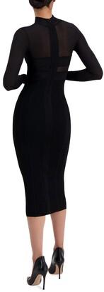 Herve Leger Corset Cutout Body-Con Midi Dress