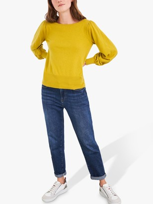 White Stuff Plain Puff Sleeve Jumper, Yellow