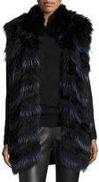 Diane von Furstenberg Two-Tone Fox Fur Vest, Black/Indigo