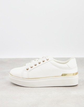 Schuh Misha flatform lace up sneakers in white