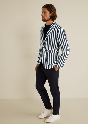 MANGO Slim fit striped cotton blazer