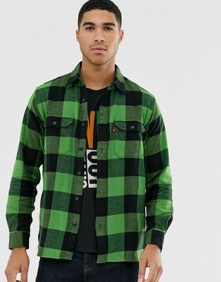 Levi's jackson tab logo check flannel worker shirt in bandurria glen cove-Green