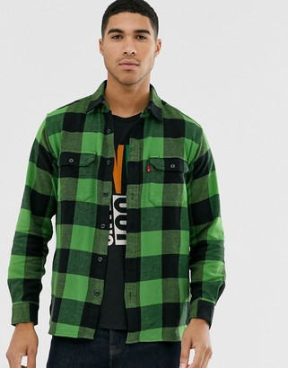 Levi's jackson tab logo check flannel worker shirt in bandurria glen cove