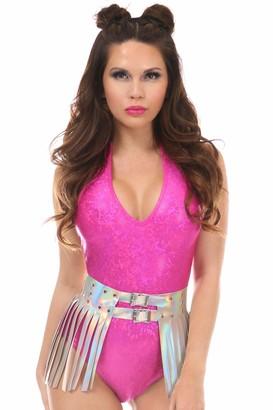 DaisyCorsets Women's Plus Size Silver Hologram Fringe Mini Skirt 2X