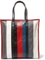 Balenciaga Bazar Medium Striped Textured-leather Tote - Gray