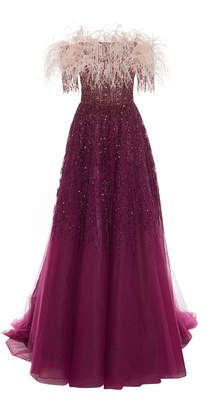 Pamella Roland Feather And Sequin-Embellished Tulle Gown