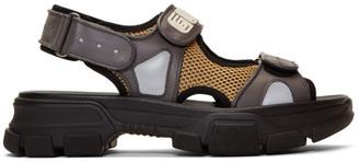 Gucci Grey Reflective Sega Aguru Sandals