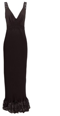 Paco Rabanne Lace-trimmed Pleated Satin Dress - Womens - Black