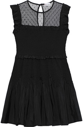 RED Valentino Point D'esprit-paneled Shirred Ruffled Poplin Dress