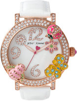 Betsey Johnson Women's White Leather Strap Watch 44mm BJ00364-03