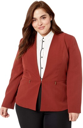 Kasper Women's Size Plus V-Neck Fly Away Stretch Crepe Jacket