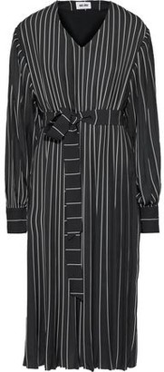 Each X Other Belted Pleated Pinstriped Crepe De Chine Dress