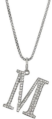 Nina Gilin Silvertone & Natural Champagne Diamond Initial Pendant Necklace