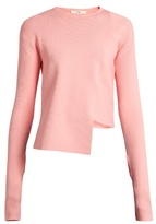 Tibi Asymmetric round-neck ribbed-knit sweater