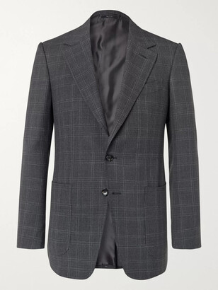 Tom Ford Shelton Slim-Fit Prince of Wales Checked Wool and Silk-Blend Blazer - Men - Gray