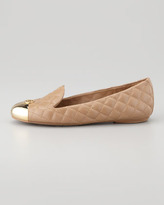 Tory Burch Kaitlin Quilted Cap-Toe Smoking Slipper, Clay Beige