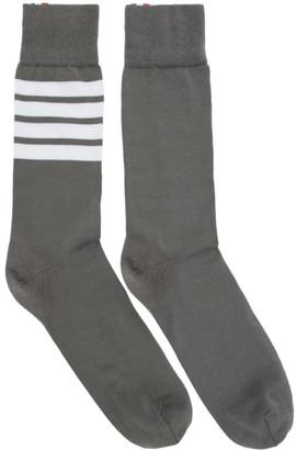 Thom Browne Grey Mid-Calf 4-Bar Socks