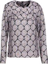 Suno Ruffled silk-blend jacquard and metallic brocade top