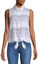 Beach Lunch Lounge Women's Striped Sleeveless Button-Down Shirt