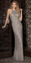 Scala Sleeveless Grecian Beaded Evening Dress