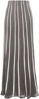 M Missoni Pleated Metallic Crochet-knit Maxi Skirt