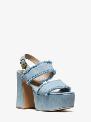 Michael Kors Jacinda Frayed Denim Platform Sandal
