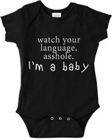 Decal Serpent Funny Baby Bodysuit Infant Watch Your Language Asshole, I'm A Baby