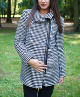 Black & White Houndstooth Asymmetrical-Zip Maternity Coat