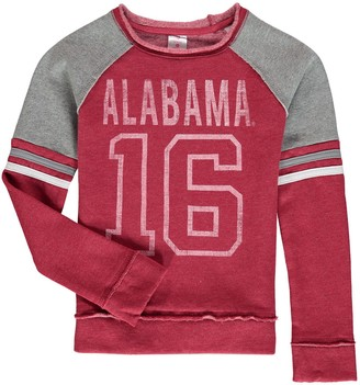 Colosseum Girls Youth Crimson Alabama Crimson Tide Double Axel Pullover Sweatshirt