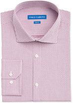 Vince Camuto Men's Slim-Fit Burgundy/White Dobby Check Dress Shirt