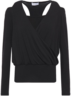 Bailey 44 Cold-shoulder Wrap-effect Jersey Top