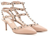 Valentino Garavani Rockstud Rolling Leather Kitten-heel Pumps