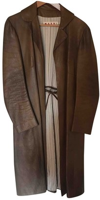 Marni Brown Leather Coat for Women Vintage