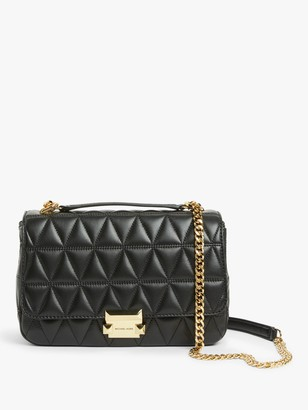 Michael Kors MICHAEL Sloan Quilted Leather Large Shoulder Bag, Black