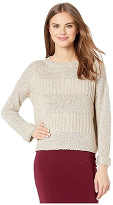BB Dakota Sequin Arrangements Boat Neck Sweater with Roll Sleeve and Back Tie